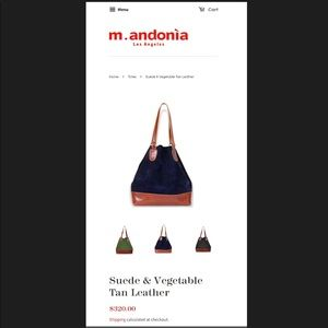 M. ANDONIA Los Angeles Navy suede leather tote